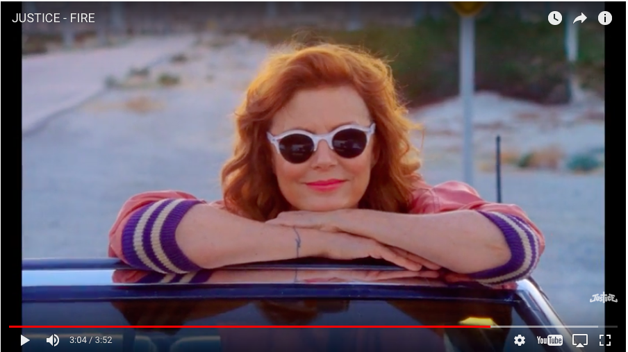 """92874f1a84b Justice channel the spirit of Thelma & Louise in the video for new single,  """"Fire,"""" from the band's third LP, Woman. In the video, Susan Sarandon plays  a ..."""